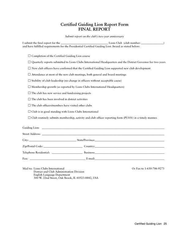 Certified Guiding Lion Final Report Form