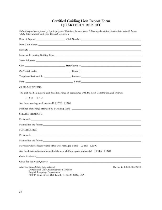 Certified Guiding Lion Quarterly Report Form